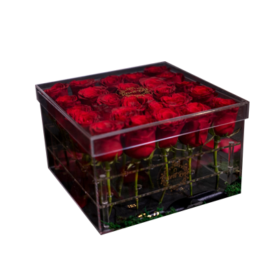 Red Roses With Ferrero Rocher Chocolate In a Signature Acrylic Box