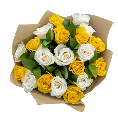 Yellow and White Rose Bouquet